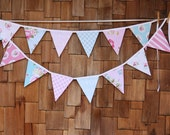 LONG Shabby Chic Fabric Flag Bunting, Shabby Chic Banner, 14 Large Flags in Pastel pink and blue. Garland Banner, Photo Prop, Decoration