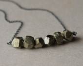 Pyrite Necklace, Faceted Pyrite Nugget Necklace, Metallic Pyrite Jewelry