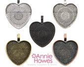 Heart Shaped Pendant Tray Settings. 1 Inch Silver, Copper, and Gold (Bronze) 25 Pack.
