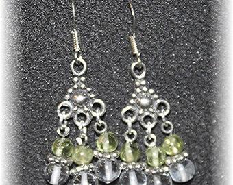 Elegant Chandelier Earrings Sterling Lime Peridot and Clear Quartz LEO Birthstone 814Chand02