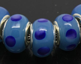 Silver Lampwork Glass Bead - Fall/Winter colors Ink on Cerulean, fits All European Style Add a Bead Jewelry Gpnd-006