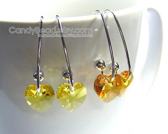 Swarovski earrings;crystal earrings;Swarovski Crystal Earrings, Genuine Swarovski Sweet Yellow Series on Long Ear Hooks - You Choose Color