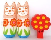 Original Scandinavian Flower fabric handmade cat toy plush softie by Jane Foster retro linen