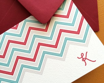 Personalized Initial Chevron notecards,s et of 6