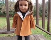 Dark Tan & a Hint of Christmas Coat for American Girl / 18 inch doll