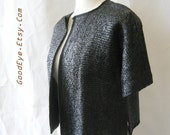 Vintage 60s Evening Jacket 1960s / NEIMAN MARCUS / Woven Sparkle RAFFIA Sweater medium  size 8 10 12 Black / Italy  Short Sleeves