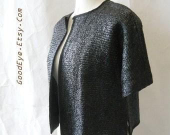 Vintage 60s Evening Jacket 1960s NEIMAN MARCUS Woven Sparkle RAFFIA Sweater medium  8 10 12 Black Italy  Short Sleeves