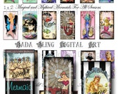 1 x 2 inch,  Magical and Mythical Mermaids,   INSTANT  Digital Download at Checkout...mermaid digital collage sheets, mermaid pendants