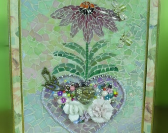 Stained glass broken china jewelry bead mosaic heart bees birds flower mixed media mosaic framed