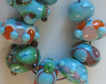 Handmade glass beads-lampwork beads-loose beads-set of nine lampwork beads-SRA