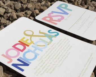 Modern Wedding Invitation - Bold Typography - Wedding Invitation - Custom