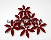 Wine Red Bridal Hair Flowers, Wedding Hair Accessories, Bridesmaid Gift - 6 Burgundy Harlow Spider Orchid Flower Hair Pins