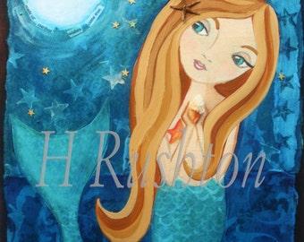 Mermaid Art- Children's Art- Mermaid Decor- Large Scale Giclee Fine Art Print 11x14 or  16x20
