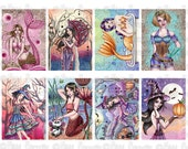 Fantasy ACEO ATC Collage Sheet - No. 4 - Printable Witch Fairy and Steampunk Images for Crafting by Nikki Burnette - COMMERCIAL Use