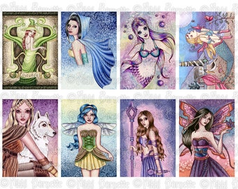 Fantasy ACEO ATC Collage Sheet - No. 5 - Printable Witch Fairy and Mermaid Images for Crafting by Nikki Burnette - COMMERCIAL Use