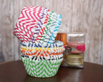 Chevron Cupcake Liners--  Assorted Colors-- Set of 25 -- Standard Size -- Choose your colors