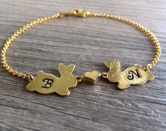 Two Bunnies Heart Jewelry Bracelet - Personalized Jewelry - Brass / 16K Gold Plated Bracelet