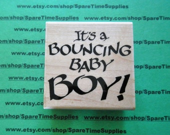 EMB-J715 Bouncing Baby Boy - Mounted Rubber Stamp
