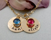Personalized Necklace, Hand Stamped Jewelry, 14kt Gold Filled Personalized Jewelry, TWO Names with Birthstones, Mommy, Grandma
