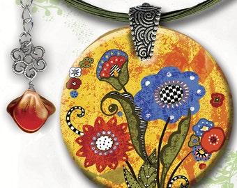 BoHo Chic Whimsy Flower - Reversible Glass Art - GeoForms Collection - Folk Art Sunshine Whimsy Flower . . .  Be Happy