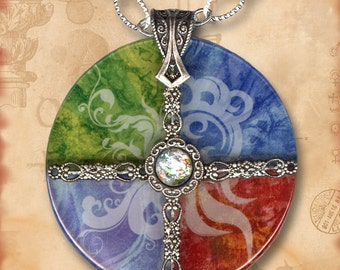 Earth, Water, Air, Fire Charm Glass Necklace - Symbolz- The Ancient Mysteries Collection - The Four Elements No. 2