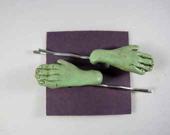Pair of Green Zombie Hand Hair Large Bobby Pins, Barrette Goth Clay