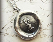 Stag Wax Seal Crest Necklace - If I Can I WILL - Si Je Puis - French motto wax seal crest necklace - RP800