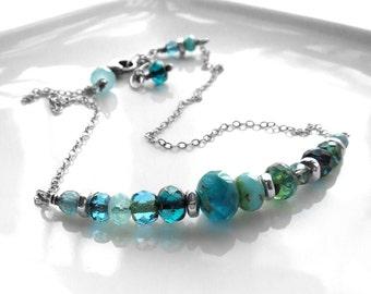 Ocean Aqua Necklace, Beach Vacation Summer Fun Jewelry - Aqua, Teal, Blue, Seafoam - Asymmetrical Modern Design, Summer Jewelry