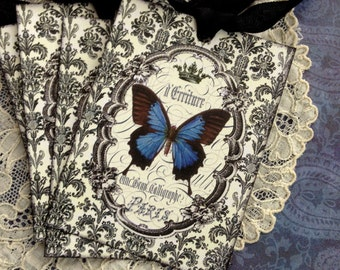 Butterfly Tags - Paris Tags - French Butterfly Tags - Damask, Black, Blue, Crown - Set of 4