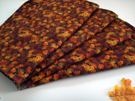 Autumn Placemats, Fall Placemats, Fall Leaves Placemats, Brown Batik Placemats, Polka Dot Placemats