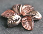 Apollo Gold Czech Glass Bead 14x9mm Leaf : 12 pc Apollo Leaves