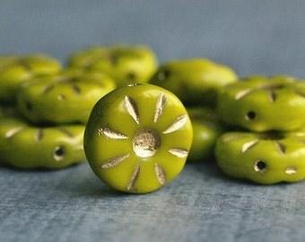 Chartreuse Czech Glass Bead 12mm Daisy Flower :  10 pc