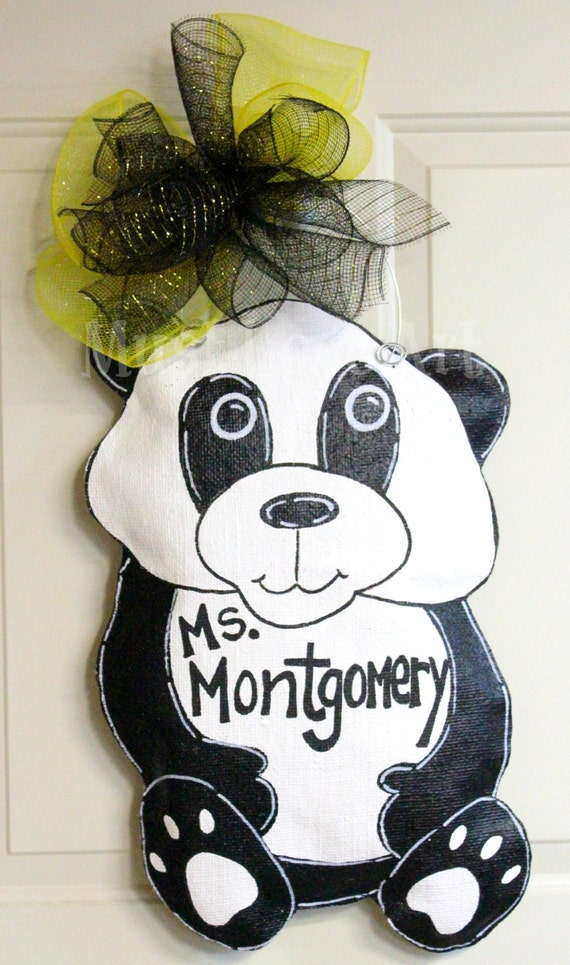 Panda bear burlap door hanger decoration by mustloveartstudio for Panda bear decor