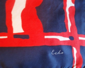 Vintage designer Scarf, Echo Silk Nautical Navy Red & White Scarf
