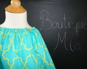 Ready to MAIL - Peasant TOP - Michael Miller - Aqua and Lime Lattice - Will fit Size 8 yr up to 11 yr - by Boutique Mia