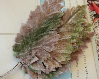 Velvet Leaves / Vintage Millinery / Tan and Moss / Bunch of Six Stems