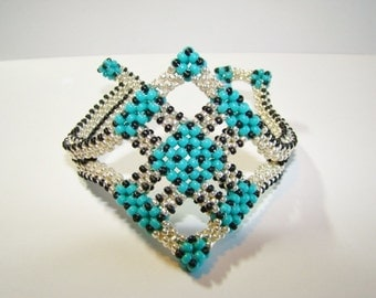 Silver and  Turquoise Cubic Right Angle Weave Bracelet