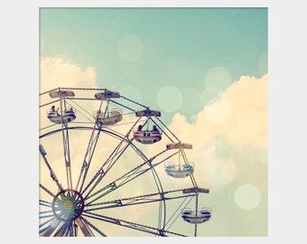 Ferris Wheel: whimsical fine art photograph print with carnival ride (children's nursery wall art, square, aqua, turquoise, sky, bokeh)