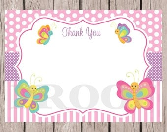 PRINTABLE Butterfly Thank You Card / 5x7 Thank You Card / Pink Butterfly / You Print