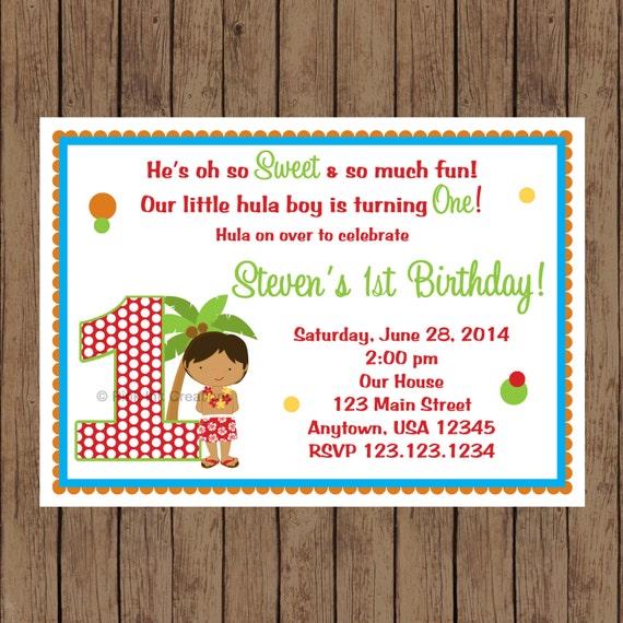 Luau Birthday Invitation Hula BOY PRINTABLE YOU Print Any Color Or Age