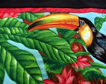 Toucan Quilted Wall Hanging, Jungle Quilt, Flowers, Tropical, Quiltsy Handmade