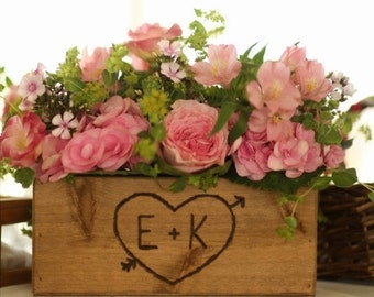 Rustic Wedding Wooden Box for Centerpiece Flowers Cards Programs Personalized Woodburned Initials decoration for weddings wooden box