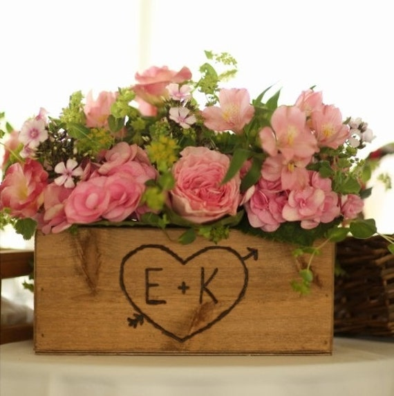 Rustic wedding wooden box centerpiece flowers by