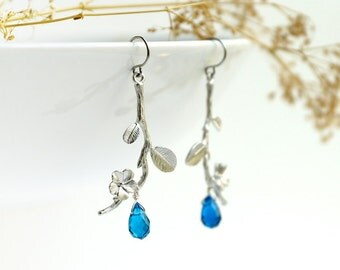 Twig Earrings, silver branch with leaf, flower and royal blue glass drop, bridesmaid jewelry, blue bridal earrings