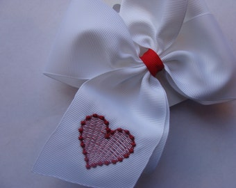Red Heart Large Hairbow Embroidered Valentines Day Girls White Huge Hair Bow Custom Boutique Clippie barrette Clip Hair Accessories Smocked