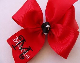 Monogrammed Name Large Boutique Hair Bow
