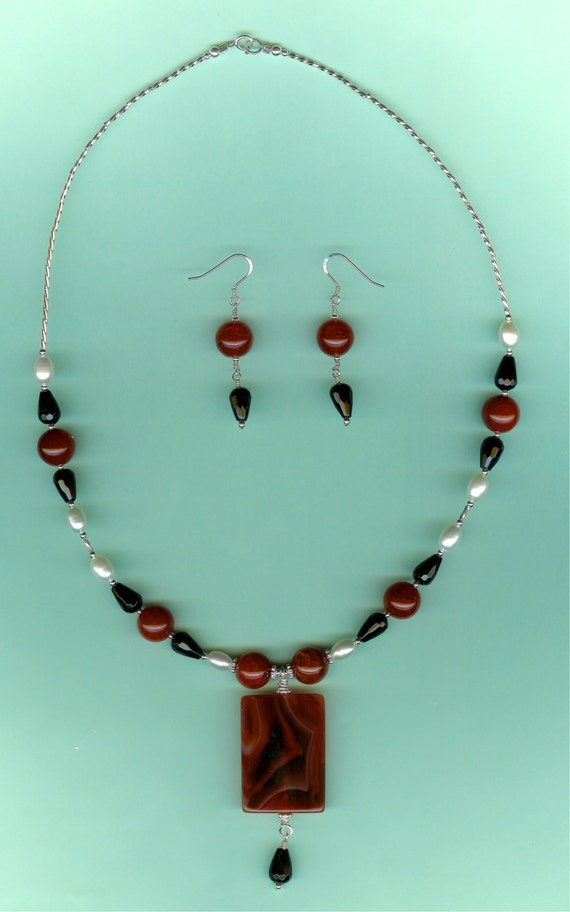 Red Agate, Black Onyx & Cultured Pearls Sterling Set