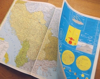 Extra Large Atlas, Vintage German Oversize Book of Maps, Huge Mid Century Atlas with Fold Outs, Flags, Astrology, Road Maps, Encyclopedia.