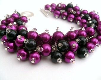 Beaded Bracelet, Bridesmaid Jewelry, Magenta and Black, Wedding, Bridesmaid Bracelet, Cluster Bracelet, Pearl Bracelet, Pearl Jewelry, Pink