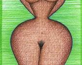 ORIGINAL Mature figurative  Art  drawing Erotic Sexy BBW artistic Nude African American Black Green wall decor artwork